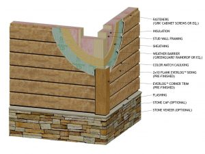 "Wall Section using 10"" Plank EverLog Concrete Log Siding"