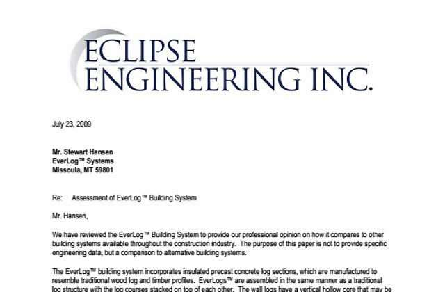 Eclipse Engineering Review of EverLog Concrete Logs