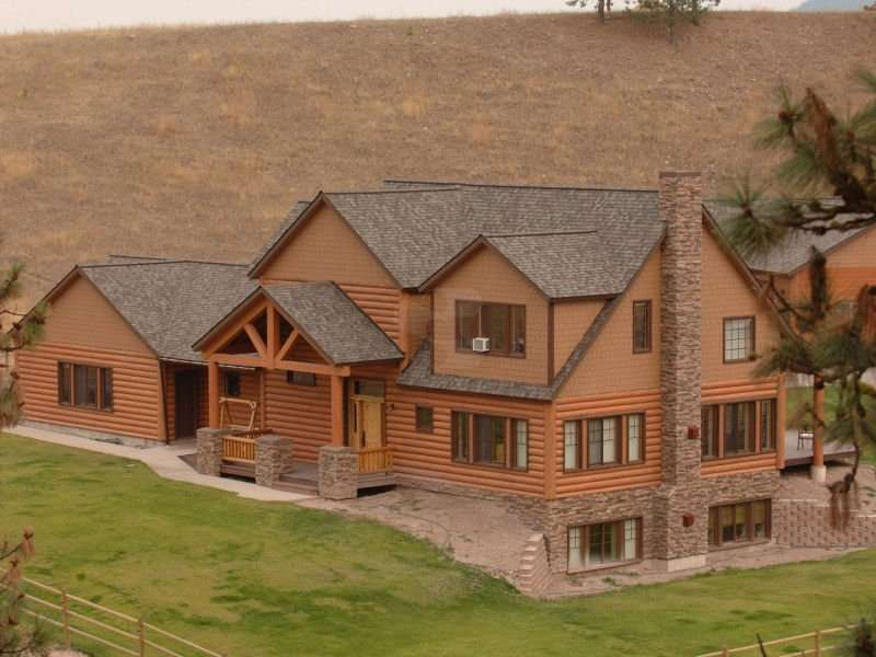 Image of Huson Concrete Log Home - made with Everlogs Concrete Logs, Siding, and Timbers