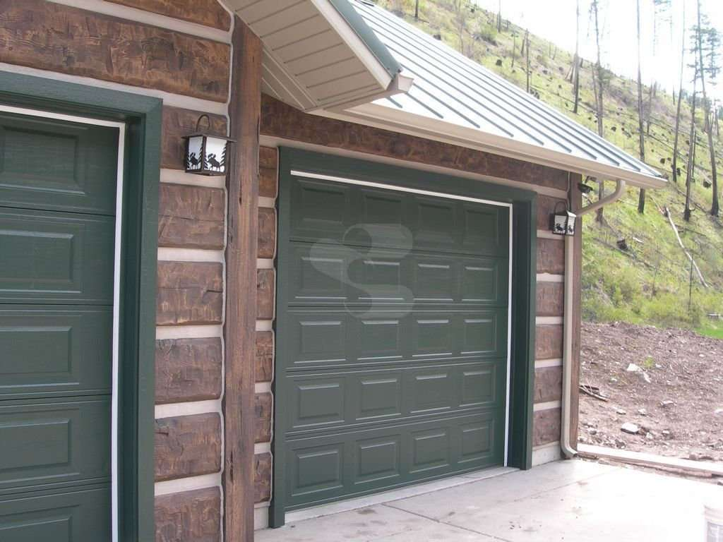 Image of Missoula Garage project - made with Everlogs Concrete Logs, Siding, and Timbers