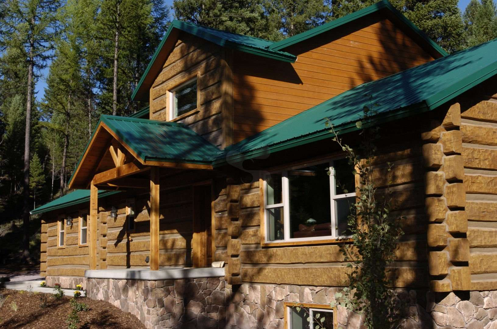 Image of Seeley Lake Concrete Log Home - made with Everlogs Concrete Logs, Siding, and Timbers