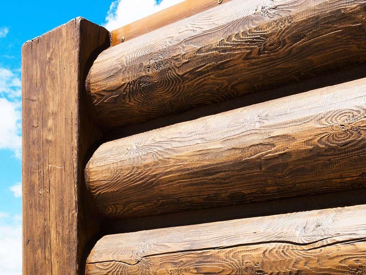 "8"" Round EverLog Concrete Log Siding in Natural Brown"