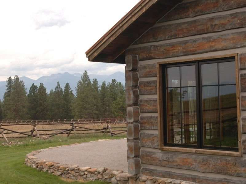 Image of Stevensville Concrete Log Home - made with Everlogs Concrete Logs, Siding, and Timbers