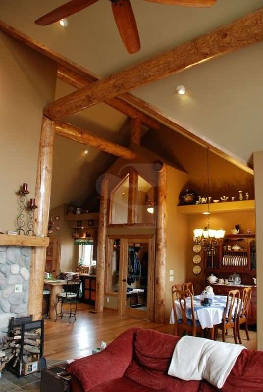Image of Living Area project - made with Everlogs Concrete Logs, Siding, and Timbers