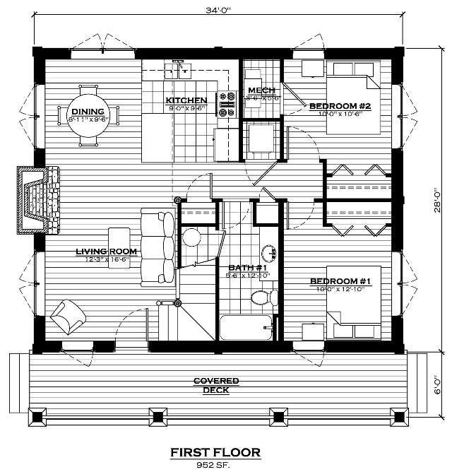 The lake cabin log home floor plan everlog systems for Free online log cabin floor plans