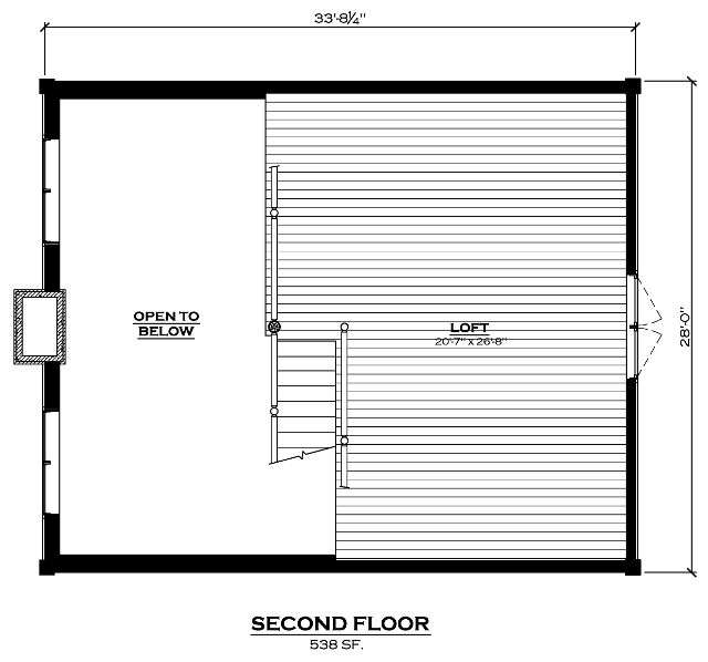 EverLog Systems the Lake Cabin Second Floor Plan