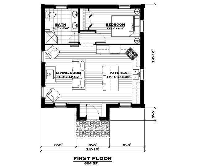 EverLog Systems the Lake Cabin Main Floor Plan