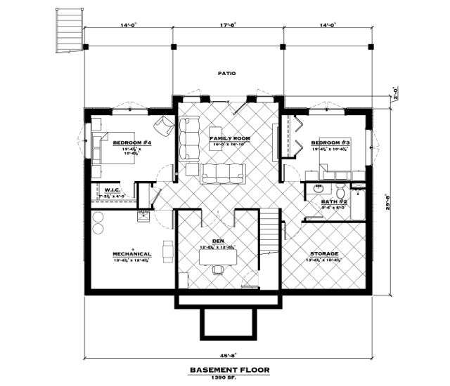 EverLog Systems the Tamarack Basement Floor Plan