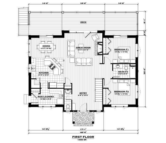 The Tamarack Log Home Floor Plan