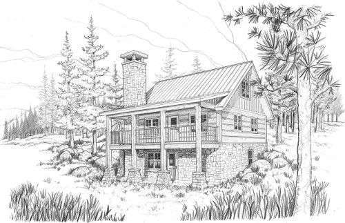 EverLog Systems the Lake Cabin Exterior Rendering
