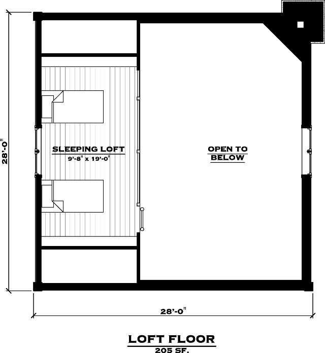 EverLog Systems the Lake Cabin Loft Floor Plan
