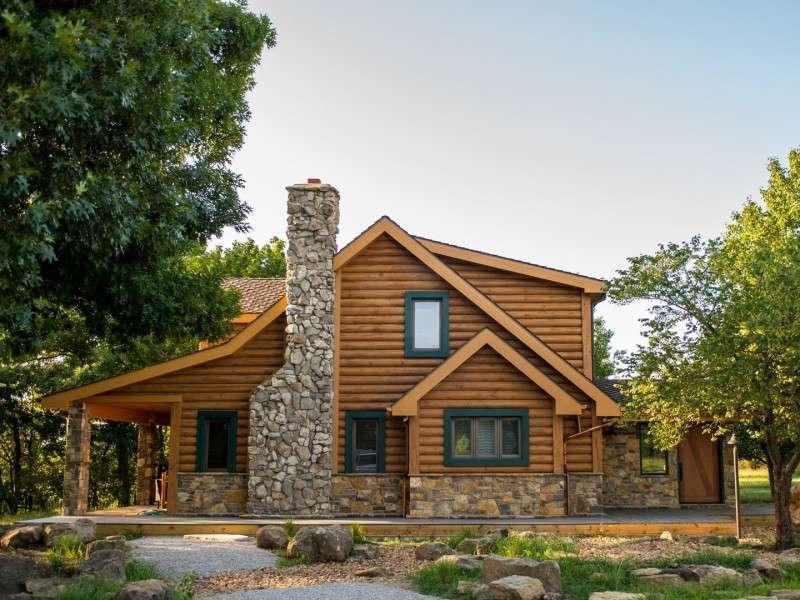 "8"" Round EverLog Concrete Log Siding - Severy, Kansas Residence - Image 01"