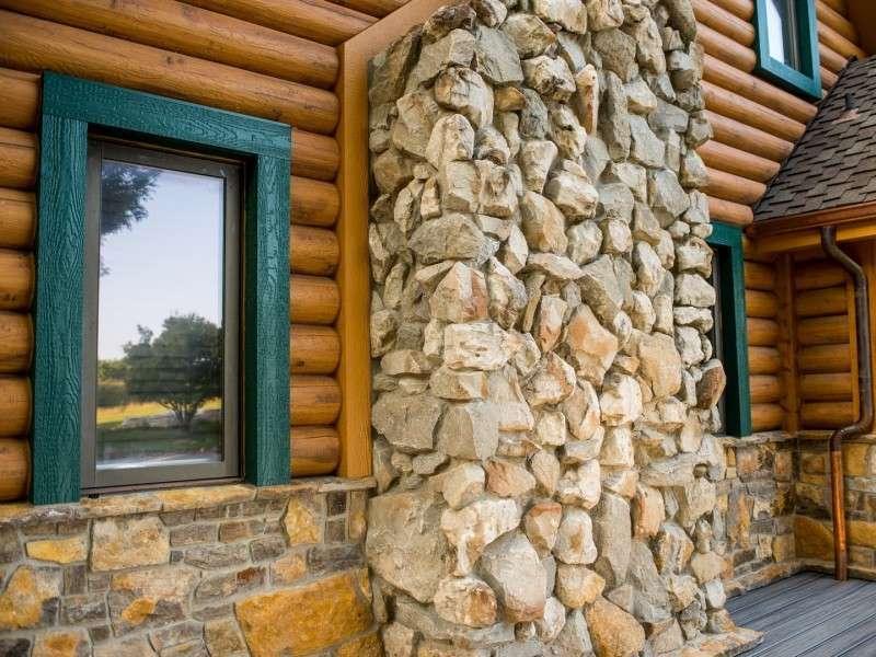 "8"" Round EverLog Concrete Log Siding - Severy, Kansas Residence - Image 02"