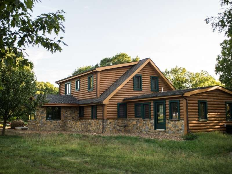 "8"" Round EverLog Concrete Log Siding - Severy, Kansas Residence - Image 05"