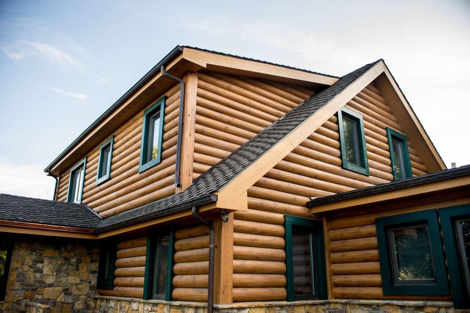 "8"" Round EverLog Concrete Log Siding - Severy, Kansas Residence - Image 06"