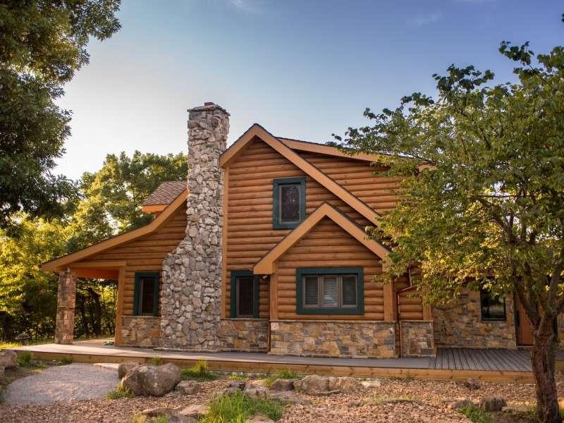 "8"" Round EverLog Concrete Log Siding - Severy, Kansas Residence - Image 10"