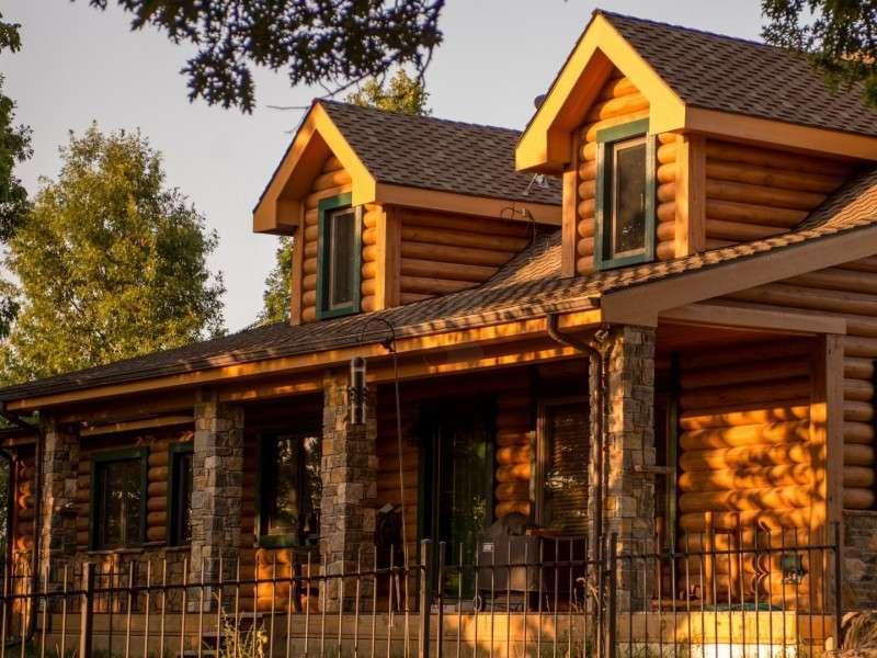 "8"" Round EverLog Concrete Log Siding - Severy, Kansas Residence - Image 11"