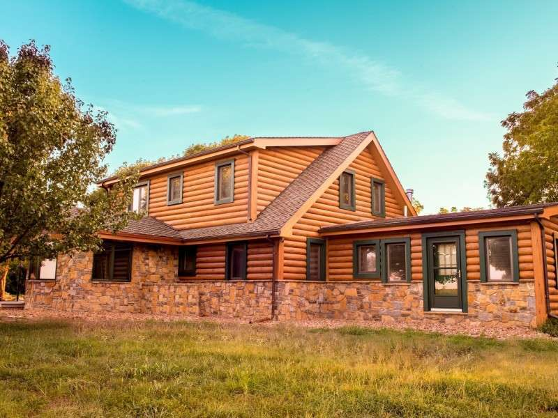 "8"" Round EverLog Concrete Log Siding - Severy, Kansas Residence - Image 12"