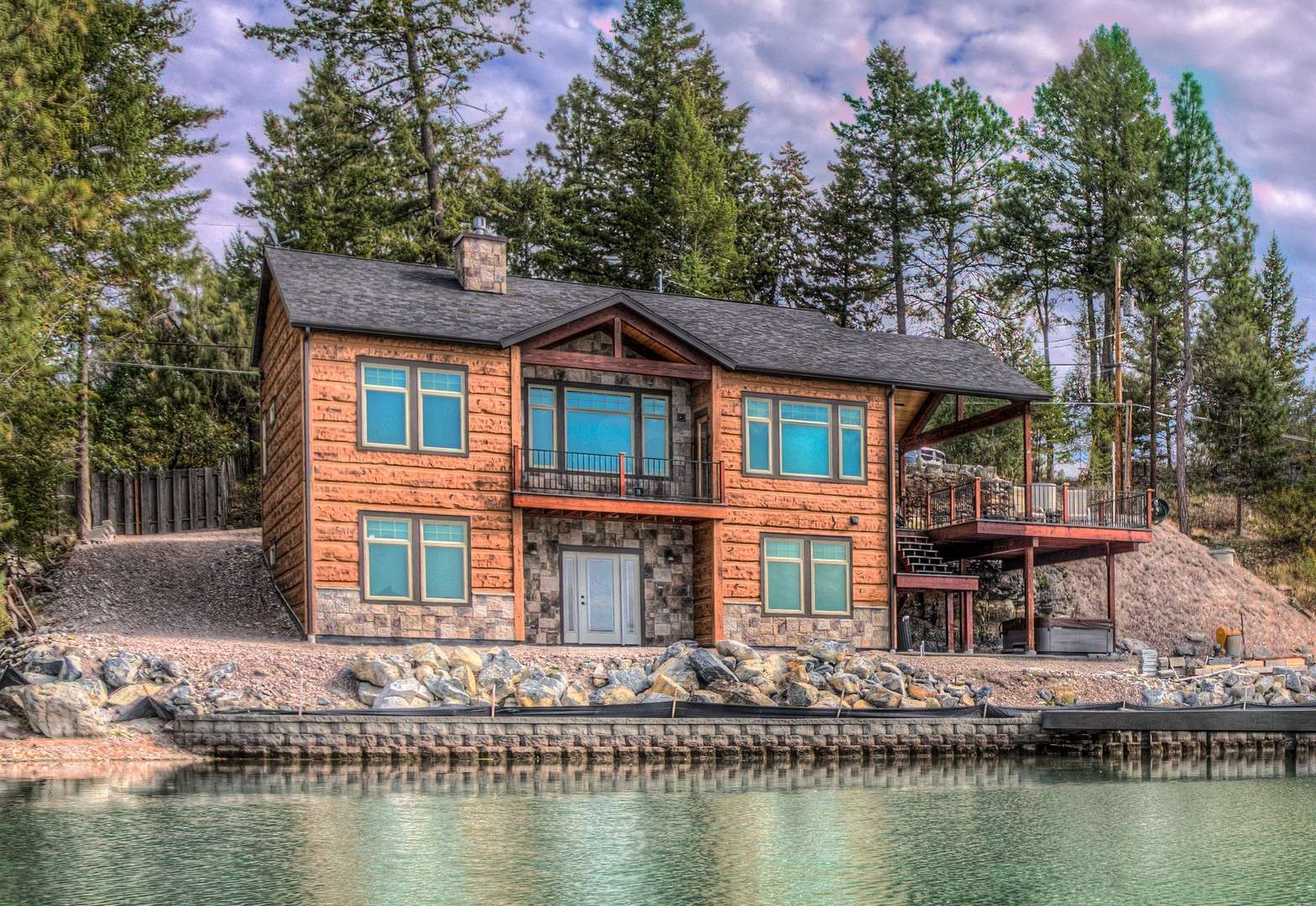 Kings Point Flathead Lake Montana Concrete Log Siding