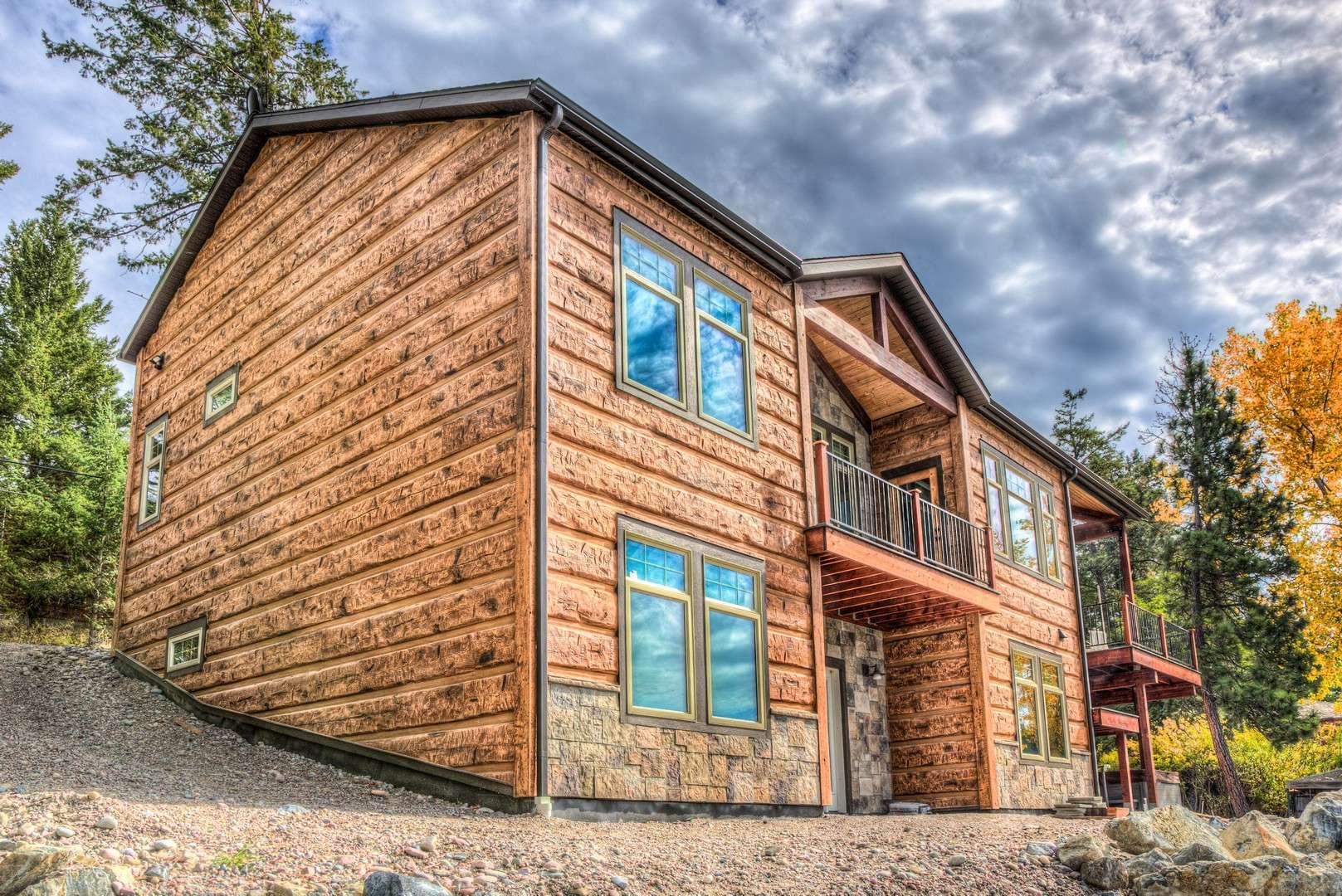Kings point flathead lake montana concrete log siding for Concrete log cabins