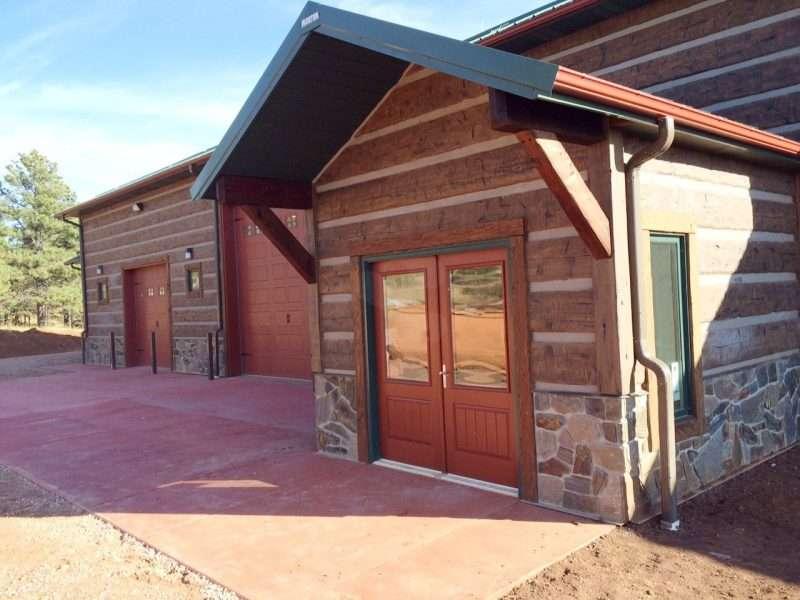 Morton Barn & Shop with Concrete Log Siding