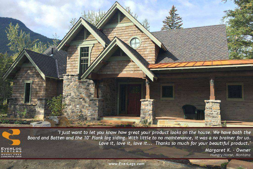 Image of Hungry Horse Testimonial - made with Everlogs Concrete Logs, Siding, and Timbers