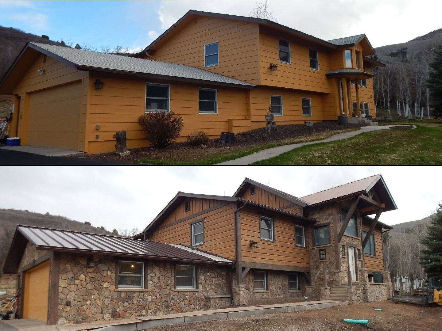 Before and After of Home Renovation with EverLog Concrete Log Siding