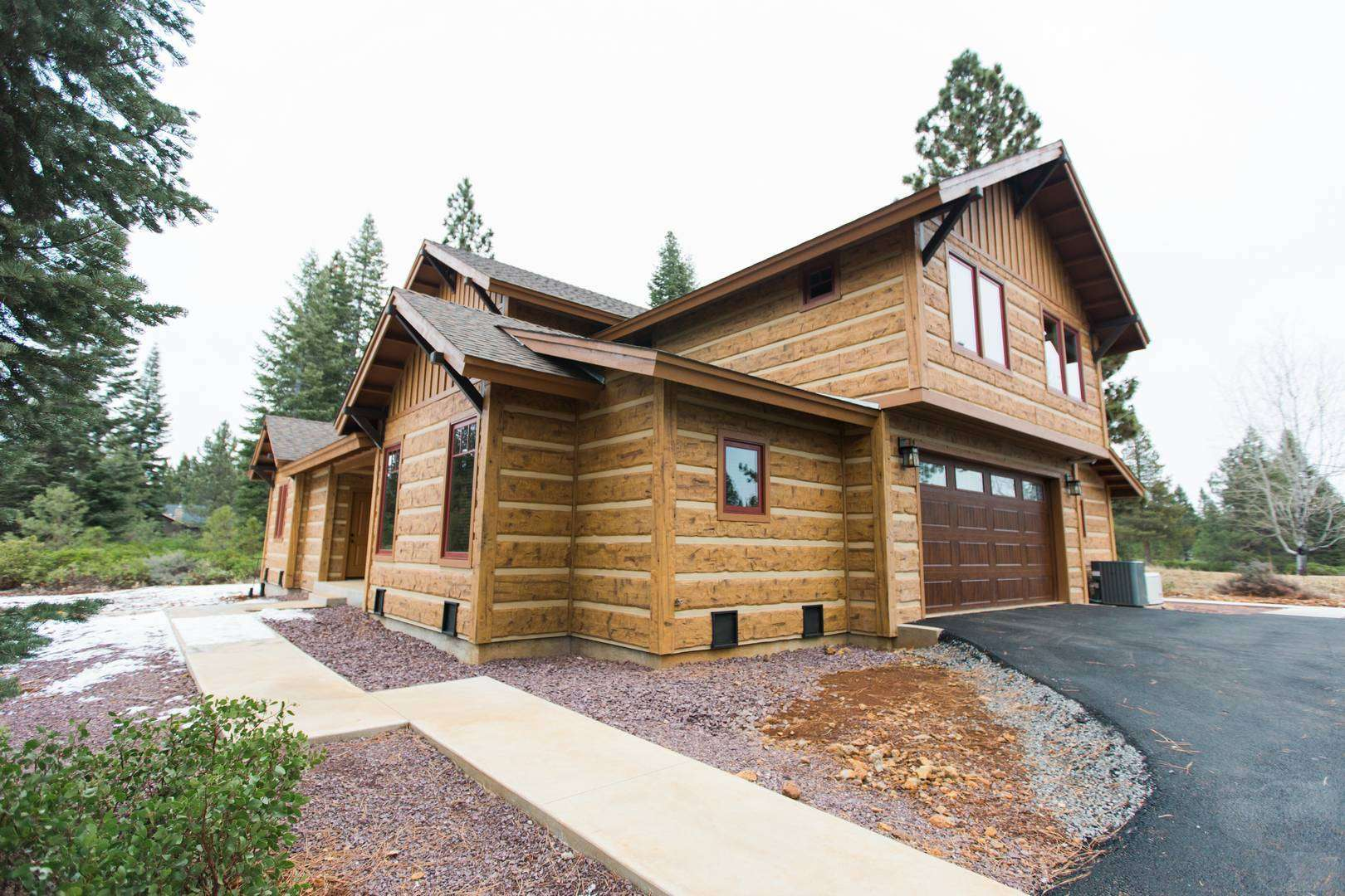 Lake Almanor, California Concrete Log Sided Cabin
