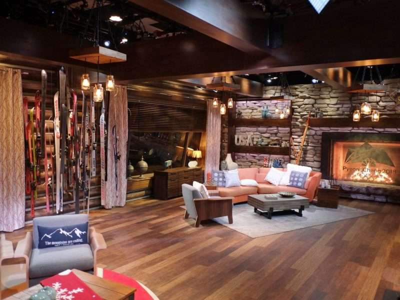 NBC Winter Lodge Studio 2018 Pyeongchang Olympics Concrete Log Siding