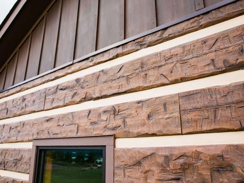 "16"" Hand-Hewn Natural Brown Concrete Log Siding - Daniel Boone Wilderness Trail Interpretive Center"