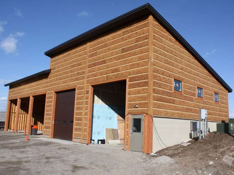Teton Village Maintenance Facility Buildings with EverLog Hand Hewn Concrete Log Siding