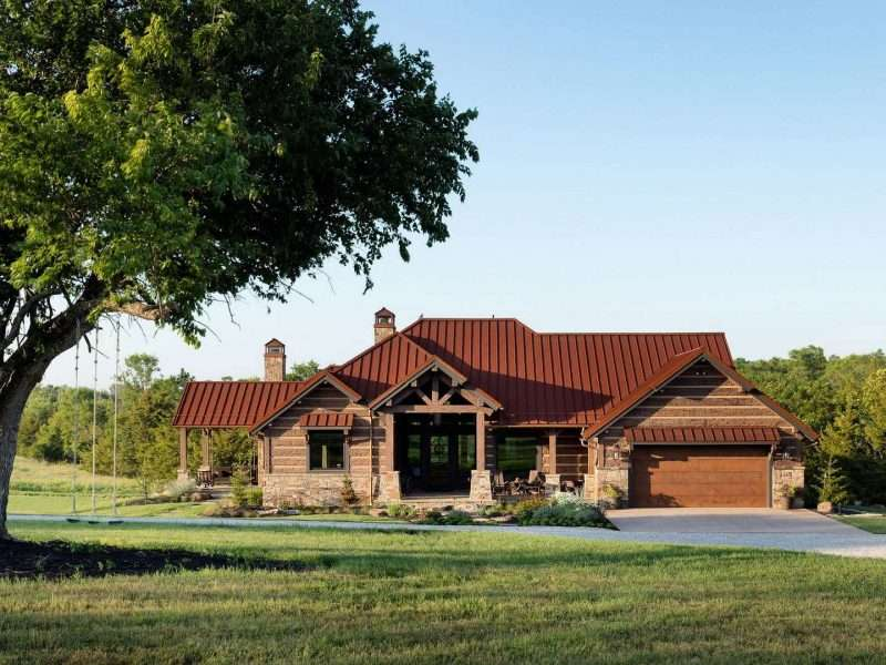 Concrete Log and Timber Home in Ottawa, Kansas
