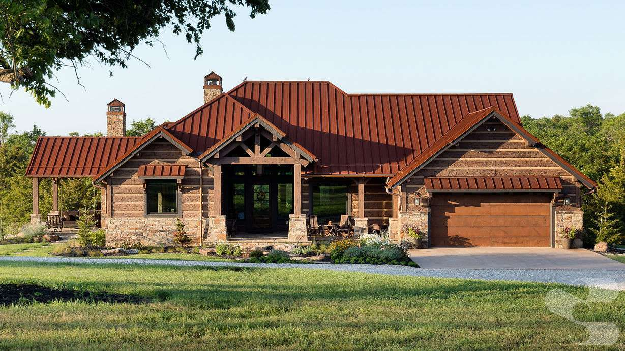 Concrete Log and Timber Home in Ottawa, KS