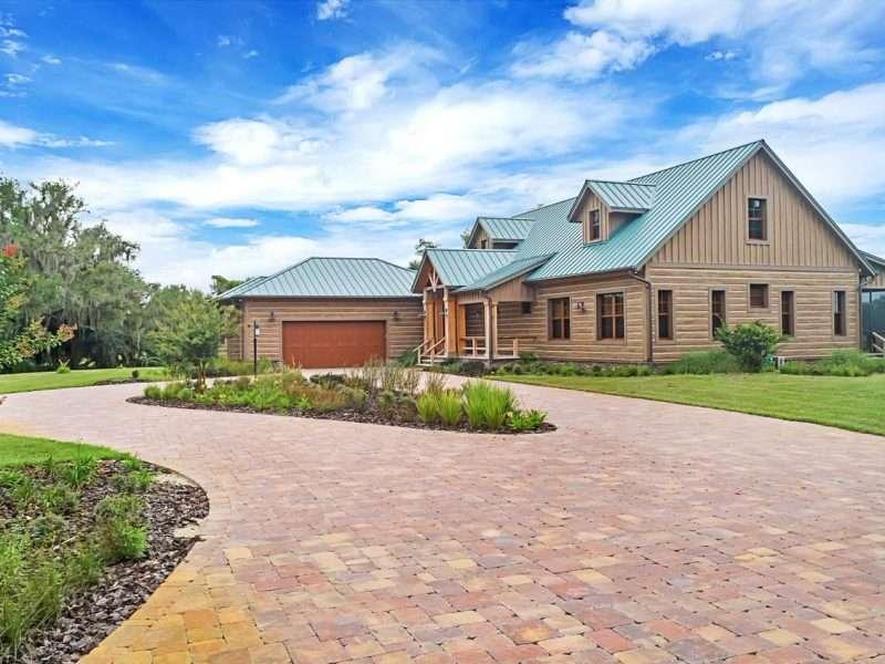 South Florida Concrete Log Siding Ranch Home
