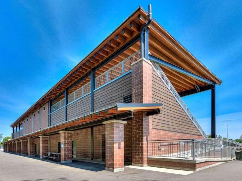 Log siding Football Stadium - War Memorial Field Grandstands - Sandpoint, Idaho